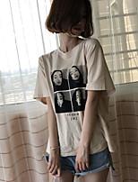Damen Solide Druck Einfach Ausgehen T-shirt,Rundhalsausschnitt Kurzarm Baumwolle