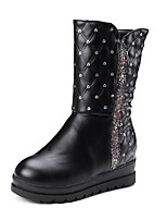 Women's Boots Comfort Leatherette Fall Winter Casual Office & Career Dress Flat Heel Black White 1in-1 3/4in