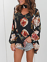 Women's Going out Casual/Daily Sexy Cute Fall Winter T-shirt,Print Round Neck Long Sleeves Cotton Medium