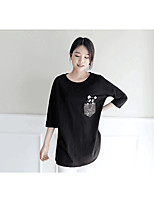 Women's Casual/Daily Active T-shirt,Print Round Neck Half Sleeves Cotton