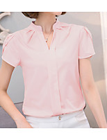 Women's Casual/Daily Cute Summer Blouse,Solid V Neck Short Sleeves Polyester Medium