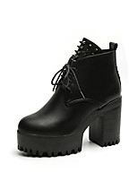 Women's Boots Comfort Spring Fall PU Casual Lace-up Chunky Heel Yellow Gray Black 2in-2 3/4in