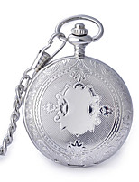 Men's Women's Pocket Watch Quartz Alloy Band Vintage Silver
