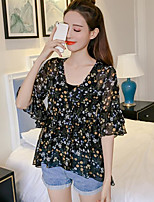Women's Casual/Daily Simple Blouse,Floral V Neck Half Sleeves Polyester