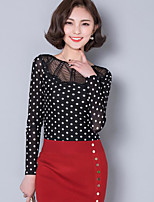 Women's Casual/Daily Simple T-shirt,Polka Dot Round Neck Long Sleeves Polyester