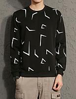 Men's Plus Size Casual/Daily Simple Sweatshirt Print Stripe Round Neck Micro-elastic Cotton Long Sleeve Spring Fall