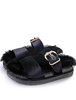 Women's Sandals Novelty PU Fall Winter Casual Party & Evening Dress Buckle Flat Heel Blue Light Grey Black 1in-1 3/4in