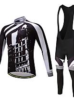 Camisa com Calça Bretelle Homens Manga Longa Moto Calças Camisa/Roupas Para Esporte Meia-calça Tights Bib Blusas Conjuntos de Roupas