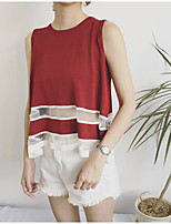 Women's Going out Simple Tank Top,Solid Round Neck Sleeveless Cotton