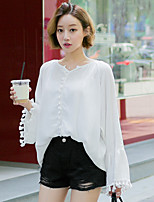Women's Going out Casual/Daily Cute Fall Blouse,Solid Round Neck Long Sleeves Nylon Medium