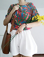 Women's Casual/Daily Vintage Blouse,Print Round Neck Short Sleeves Polyester