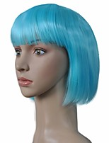 BOB Style Capless Wig Short Sky Blue Kinky Straight Synthetic Hair Cosplay Wigs