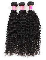 Недорогие -Необработанные Перуанские волосы Кудрявый вьющиеся Наращивание волос 3шт Черный