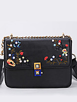 Women Bags All Seasons PU Shoulder Bag with Rivet Chain Embroidered for Event/Party Casual Formal Outdoor Office & Career White Black