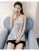 Women's Casual/Daily Sexy Blouse,Solid Floral Strap Sleeveless Polyester