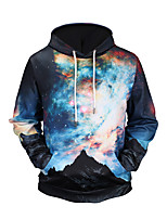 Men's Going out Casual/Daily Hoodie 3D Print Hooded Micro-elastic Polyester Long Sleeve Fall