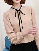 Damen Solide Einfach Lässig/Alltäglich Hemd,Ständer Langarm Andere