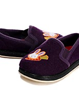 Girls' Loafers & Slip-Ons Vulcanized Shoes Flocking Fall Winter Casual Dress Applique Gore Flat Heel Purple Flat