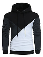 Men's Sports Casual/Daily Vintage Hoodie Color Block Patchwork Hooded Micro-elastic Cotton Acrylic ¾ Sleeve Fall Winter