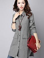 Women's Casual/Daily Simple Shirt,Check Shirt Collar Long Sleeves Cotton