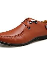 Masculino Oxfords Conforto Solados com Luzes Sapatos de mergulho Primavera Verão Outono Inverno Couro Casual Cadarço Rasteiro Preto