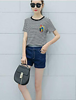 Women's Casual/Daily Simple Summer T-shirt Pant Suits,Solid Striped Crew Neck Short Sleeve