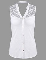 Women's Casual/Daily Sexy Simple Summer Shirt,Solid Stand Sleeveless Cotton