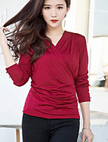 Women's Casual/Daily Simple T-shirt,Solid V Neck Long Sleeves Others