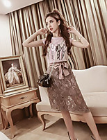 Women's Casual/Daily Simple Summer T-shirt Skirt Suits,Animal Print Round Neck Sleeveless