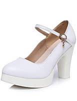 Women's Heels Formal Shoes Spring Fall Synthetic Microfiber PU Office & Career Dress Rhinestone Buckle Platform White 3in-3 3/4in