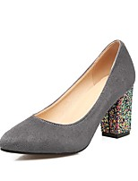 Women's Heels Comfort Spring Fall Fleece Outdoor Office & Career Sequin Chunky Heel Gray Black 2in-2 3/4in
