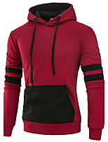 Men's Sports Going out Casual/Daily Simple Active Street chic Hoodie Color Block Patchwork Hooded Micro-elastic Polyester SpandexLong