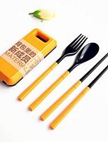 2 PCS/Set Abs Plastic Tableware Set Folk Spoon Chopsticks