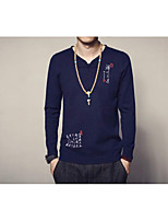 Men's Going out Casual/Daily Vintage Simple Regular Pullover,Solid Round Neck Long Sleeves Cotton Rayon Fall Winter Medium Thick