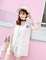 Women's Casual/Daily Simple Summer T-shirt Pant Suits,Solid Round Neck Sleeveless