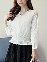 Women's Going out Casual/Daily Simple Blouse,Solid V Neck Long Sleeves Cotton
