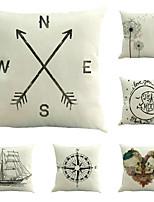 Set Of 6 Creative Compass Sailboat Pillow Case Classic Cotton/Linen Pillow Cover