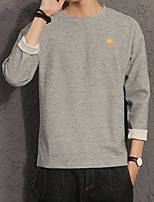 Men's Going out Casual/Daily Sweatshirt Solid Round Neck Micro-elastic Polyester Others Long Sleeve Spring Fall