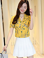 Women's Casual/Daily Simple Summer Blouse,Solid Floral V Neck Short Sleeves Others