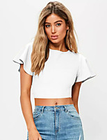 Women's Going out Simple T-shirt,Solid Round Neck Short Sleeves Cotton