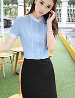 Women's Casual/Daily Simple Summer Shirt Skirt Suits,Solid Round Neck Short Sleeve Inelastic