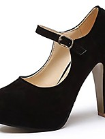 Women's Heels Light Soles Spring Fall PU Casual Dress Buckle Chunky Heel Black 2in-2 3/4in