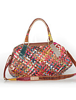 Women Bags All Seasons Cowhide Shoulder Bag Braided Strap Split Joint for Casual Rainbow