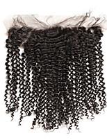 Malaysische kinky lockige Haarspitze frontaler Verschluss 13x4 vor gezupft mit Babyhaar menschliches remy Haar