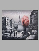 IARTS® Hand Painted Modern Abstract Stroll in Paris Eiffel Tower Grey & Red Oil Painting On Canvas with Stretched Frame Wall Art For Home Decoration