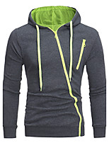 Men's Going out Casual/Daily Street chic Hoodie Solid Hooded Micro-elastic Cotton Polyester Long Sleeve Fall Winter