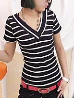 Tee-shirt Femme,Rayé Décontracté / Quotidien simple Eté Manches Courtes Col en V Coton Moyen