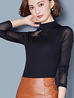 Women's Going out Casual/Daily Simple Blouse,Solid Round Neck Long Sleeves Silk Cotton