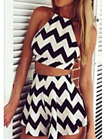 Women's Going out Simple Summer T-shirt Skirt Suits,Striped Strap Sleeveless