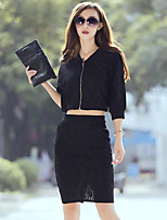 Women's Casual/Daily Simple Fall Shirt Skirt Suits,Solid V Neck ½ Length Sleeve